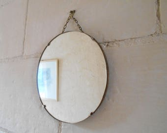 mirror on chain. gorgeous large round mirror with chain, french antique mirror, wall hanging mirror. on chain