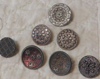 7 Antique Pewter Buttons Tinted Pressed Stamped Back Mark: Paris
