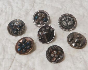 7 Small Victorian Era Steel Cup Buttons with Cut Steels
