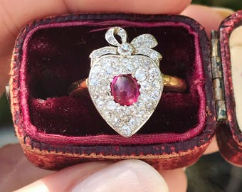 Reserved:  Edwardian Diamond and Ruby Heart Ring