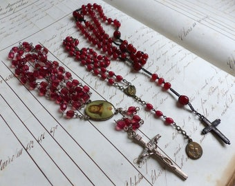 Set of 3 vintage french red glass bead rosaries. Vintage Catholic rosary beads. Christian prayer beads. Vintage red rosaries
