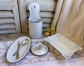 French vintage white enamel kitchen set. 4 piece set. French kitchen utensils. White enamel with blue trim. Rustic french farmhouse