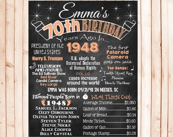 70th Birthday Chalkboard 1948 Poster 70 Years Ago in 1948 Born in 1948 70th Birthday Gift