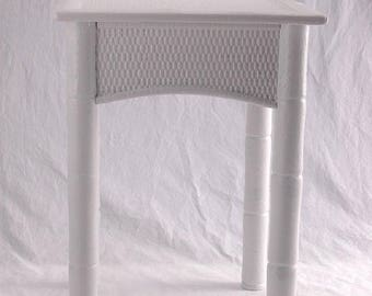 SALE Vintage White End Table, Small Bench, Plant Stand Faux Bamboo Rattan  Shabby White