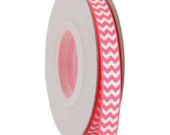 "Grosgrain Chevron Ribbon 3/8"" - 10 Yards - Hot Pink"