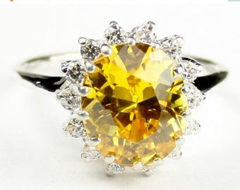 On Sale, 30% Off, Golden Yellow CZ, 925 Sterling Silver Ring, SR283