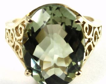 On Sale, 30% Off, Green Amethyst, 14KY Gold Ring, R049