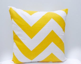 """Yellow and White Large ZigZag Chevron Throw Pillowcase, Lumbar cover Sham Toss pillow cover 20x20"""" and Many more"""