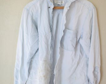 vintage 1990's oversized distressed blue chambray denim shirt *