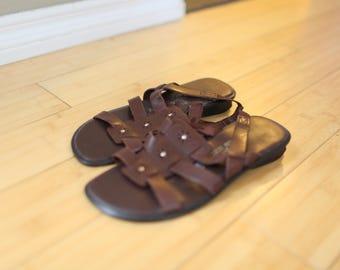 vintage brown leather wedge sandals womens 7 1/8
