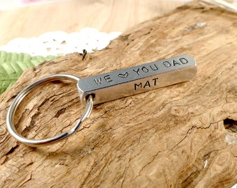 Gift For Dad, Fathers Day Gift, Personalised Keyring, Handstamped Keyring, Dad Gift, First Time Dad Gift, Custom Keyring
