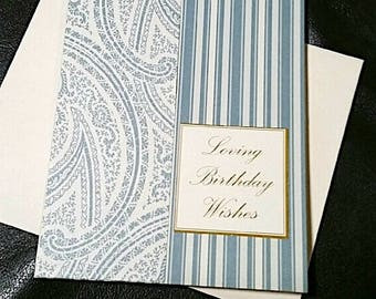 Blue Or Pink Stripped Birthday Wishes Card