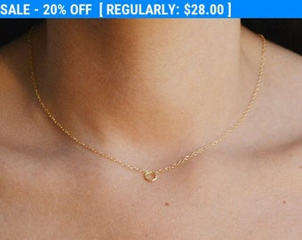 SALE gold necklace, gold circle necklace, simple necklace, everyday necklace, dainty necklace, tiny necklace, petite jewelry ,gift for women