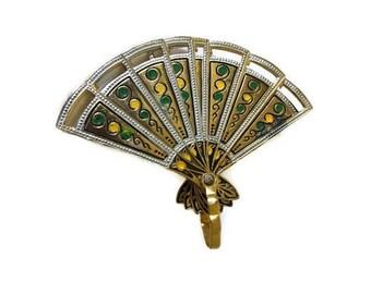 "Vintage Gold Tone Enamel 3D Movable Articulated Fan Brooch 2.25"" x 1.50"""