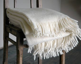 Pure Wool blanket with fringes Milk white Wool blanket Pure wool throws Wool throw 55''X81''/140X205cm Perfect gift