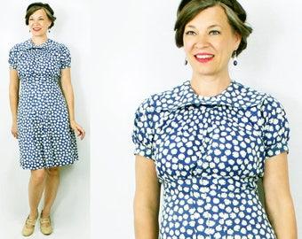"""1930s Day Dress / 30s Day Dress / 1930s Dress / 30s Dress / Day Dress s/ Floral Dress / Blue Dress / Secretary Dress / Bust 36"""" Waist 30"""""""