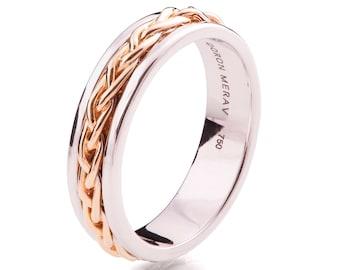 Celtic Wedding Band , Braided Wedding Band, Two Tone wedding Ring, two tone Celtic ring, Rose Gold wedding band, mens wedding band, 9