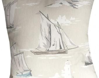 Designer stripe boat sailor beige nautical vintage seaside summer cushion cover