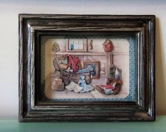 Vintage DIORAMA Box Framed, ''Ceiling Kingdom'', Signed