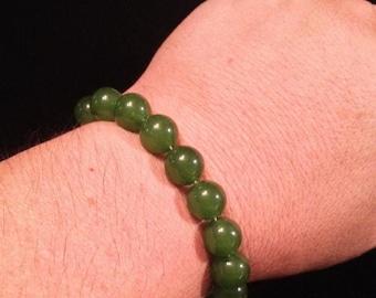 ON SALE - 12 mm Green Jade Beaded Bracelet - Stretchable