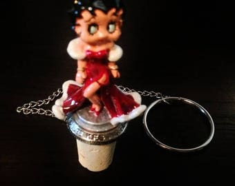 ON SALE - Vintage Collectible Pewter Bottle Stopper Betty Boop Model #7808P