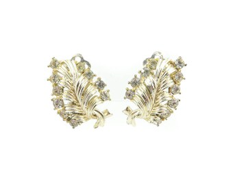 Vintage Rhinestone Earrings, Leaves
