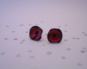 Chips poppy red and black Stud Earrings stainless steel.