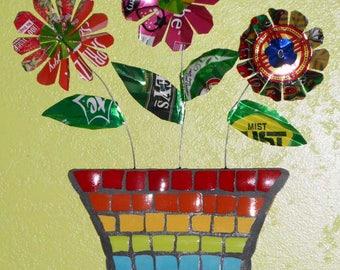 Handmade OOAK Trash Art Outsider Pique Assiette Flower Vase With Beverage Can Flowers Wall Art