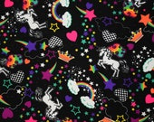 UV Unicorns and Rainbows Neon 90's Print Crowns Hearts Shooting Stars Starry Colorful Bright Fantasy Happy Spandex Fabric