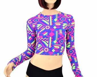 Long Sleeve NEON Lime & Purple Aztec Print UV Glow Long Sleeve Crew Neck Crop Top Rave Clubwear -E7550
