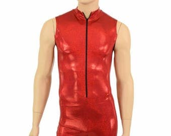"""Mens """"Stanley"""" Red Sparkly Jewel Zipper Front Sleeveless Romper Party Animal Festival Rave Bromper - 155101"""