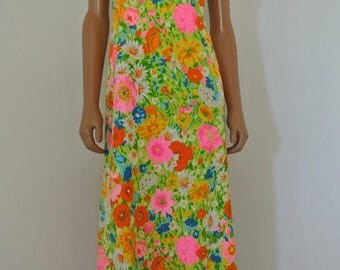 SALE 1960s PsyCheDelic Raindow Neon Floral Hippie Dress by Jay Anderson POSH M