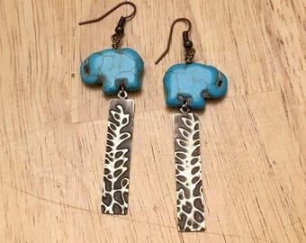 Turquoise howlite elephant embossed brass earrings
