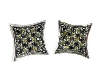 Vintage Sapphire Pierced Earrings, Sterling Silver Studs, Checkerboard Earrings