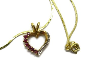 Ruby Heart Pendant, Vintage Gold Plated Diamond Studded Pendant, Sterling Silver, Gold Plated Cobra Chain Necklace