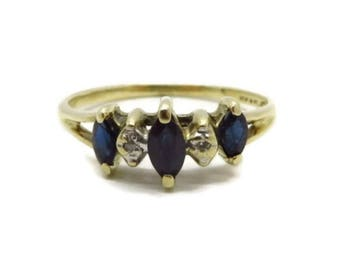 Vintage Sapphire Diamond Ring, 10K Gold Marquise Sapphire Estate Wedding, Anniversary Ring, Size 5