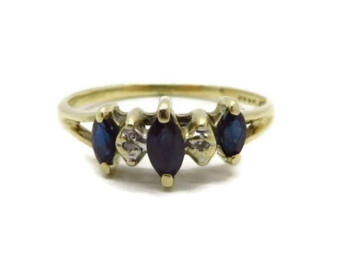 Vintage Sapphire Diamond Ring, 10K Gold Marquise Sapphire Estate Wedding, Anniversary Ring, Size 5