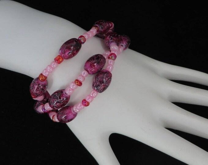 Pink Purple Beaded Bracelet, Vintage Multistrand Boho Beaded Bracelet