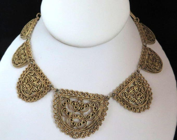 Gold Tone Filigree Bib Necklace, Vintage 1950s Lacy Necklace, FREE SHIPPING