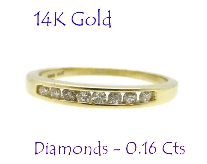 Diamonds - 14k Gold Diamond Wedding Band, .16ct SI2 H Vintage Womens Wedding Ring, Size 7, FREE SHIPPING