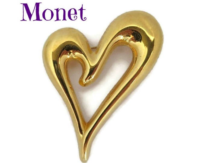 Monet Heart Brooch, Vintage Gold Tone Abstract Heart Pin Designer Signed Costume Jewelry Gift Idea