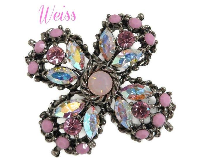 Weiss Pink Rhinestone Brooch, Fuschia Pink & AB Rhinestone Maltese Cross, Signed Weiss Jewelry