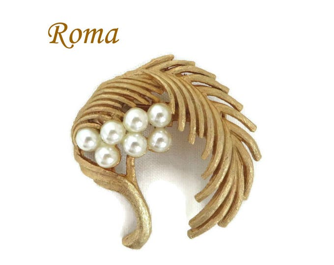Roma Leaf Brooch, Vintage Faux Pearl Leaf Pin, Signed Roma Jewelry, Drooping Leaf Pin, Perfect Gift, Gift Box