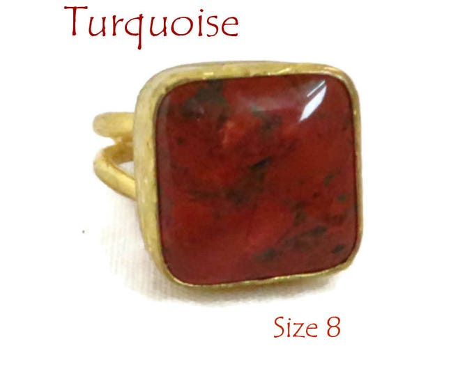 Red Turquoise Ring, Vintage Gold Plated Sterling Silver Red Gemstone Ring, Size 8, Gift Box, Perfect Gift, FREE SHIPPING