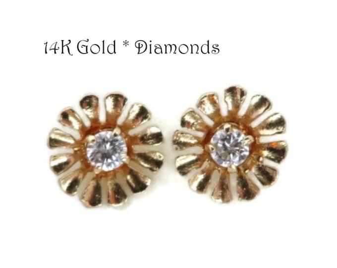 14K Gold .10 Ct Diamond Earrings - Vintage Flower Blossom Pierced Stud Earrings, Gift For Her, Gift Boxed