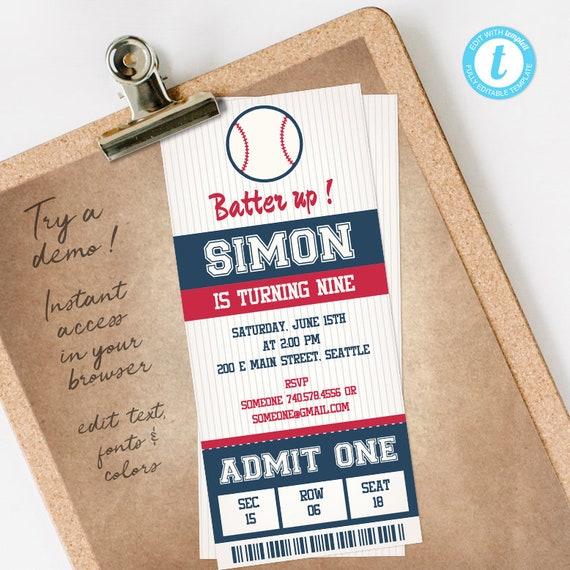 Baseball Birthday Invitation, Baseball Ticket Invitation, Baseball Invitation, fully editable INSTANT DOWNLOAD printable at home