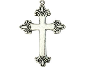 12 Simple Silver Cross Pendant Necklace 64x43mm by TIJC SP0024B