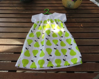 Summer cotton dress in white with green pears (2-3 years)