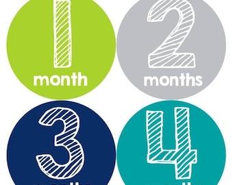 Baby Month Stickers, Baby Boy Gift, Milestone Stickers, Monthly Sticker, Monthly Baby Boy Stickers, Baby Bodysuit, Baby Shower Gift 247