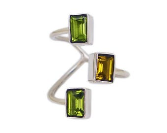 """""""Game Of ingot"""" open ring silver Sterling and gemstone Citrine/Peridot"""